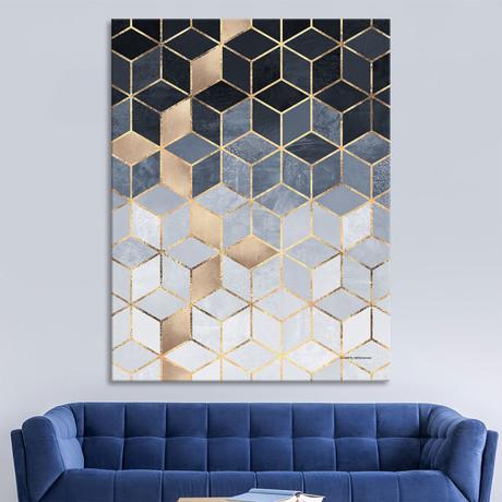 """Soft Blue Gradient Cubes (48""""W x 54""""H x 1.5""""D)"""