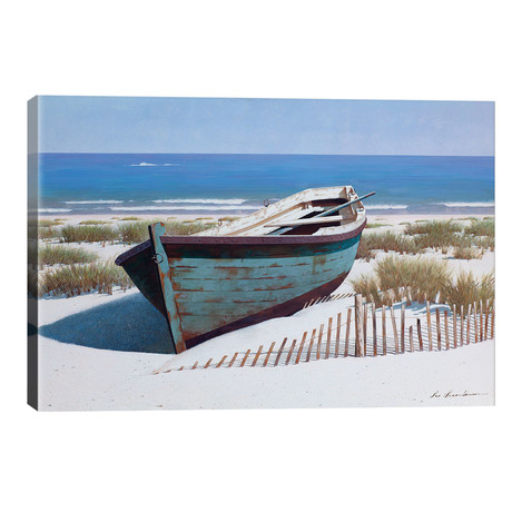 "Blue Boat on Beach // Zhen-Huan Lu (40""W x 26""H x 1.5""D)"