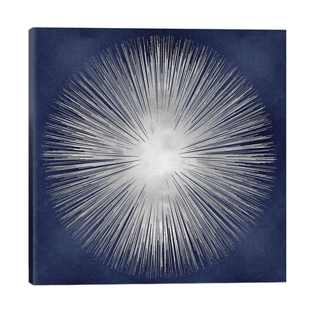 "Silver Sunburst On Blue I // Abby Young (26""W x 26""H x 1.5""D)"