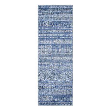 "Unique Loom Sardinia Helios Rug // Navy Blue (26"" x 72"")"