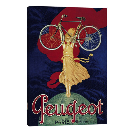 """Peugeot Bicycle Advertising Vintage Poster // Unknown Artist (26""""W x 40""""H x 1.5""""D)"""