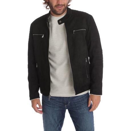 Grant Vegan Suede Bomber Jacket // Black (S)