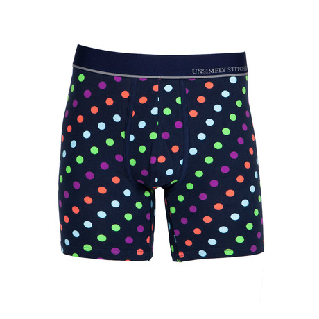 Diagonal Polka Dots Boxer Brief // Dark Navy (S)
