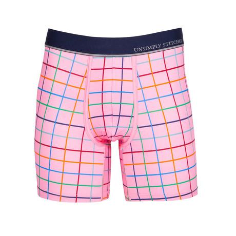Color Grid Boxer Brief // Pink (S)