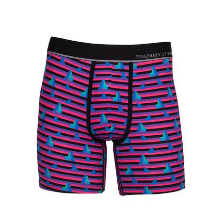 Shark Attack Boxer Brief // Black + Pink + Purple (S)