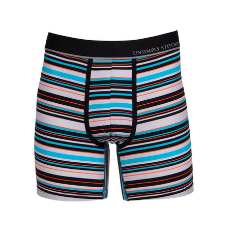 Rock Stripe Boxer Brief // Gray + Multicolor (S)
