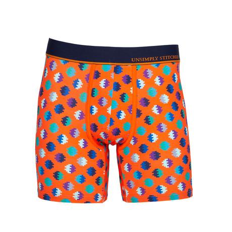 Digital Dot Boxer Brief // Orange + Blue (S)
