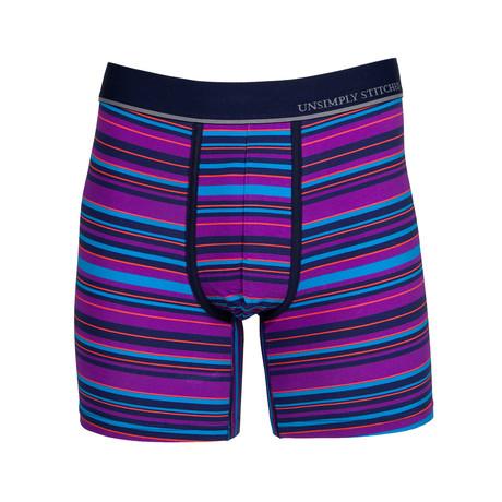 Rock Stripe Boxer Brief // Purple + Multicolor (S)