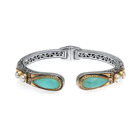 Konstantino Amphitrite Sterling Silver + Sea Blue Agate Bracelet // Store Display