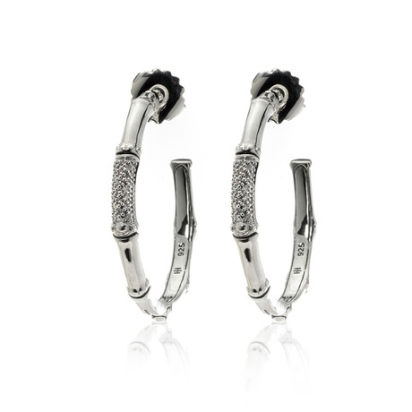 John Hardy Sterling Silver + Diamond Bamboo Earrings // Store Display