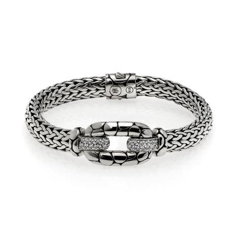 John Hardy Sterling Silver + White Topaz Kali Bracelet // Store Display