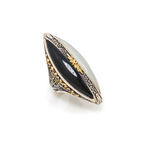 Konstantino Thetis Sterling Silver + White Agate Ring // Ring Size 7 // Store Display