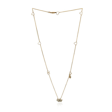 Gucci Flora 18k Yellow Gold Diamond + Mother Of Pearl Necklace // Store Display