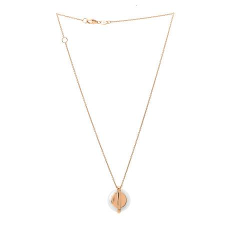 Roberto Coin 18k Rose Gold Diamond + White Jade Necklace // Store Display
