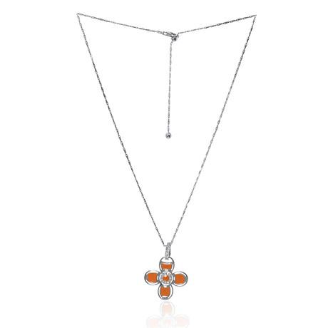 Roberto Coin 18k White Gold + Enamel Diamond Necklace // Store Display