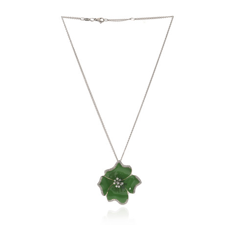 Roberto Coin 18k White Gold And Enamel Diamond Necklace // Store Display