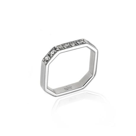 Gucci Bridal 18k White Gold Diamond Ring // Ring Size 3.75 // Store Display