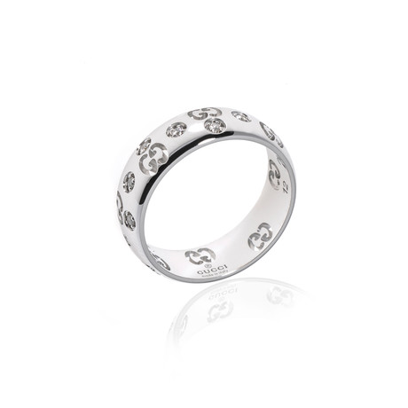 Gucci 18k White Gold Diamond Icon Ring // Ring Size 6 // Store Display