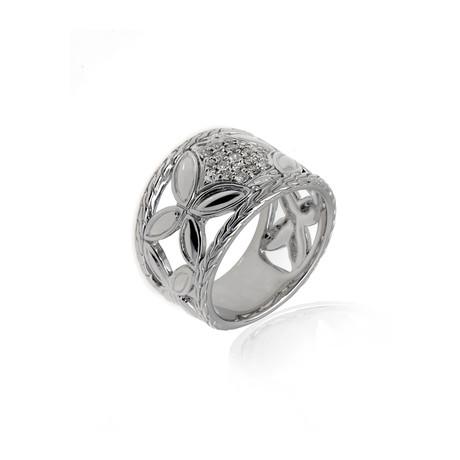 John Hardy Sterling Silver Diamond Kawung Ring // Ring Size 7 // Store Display