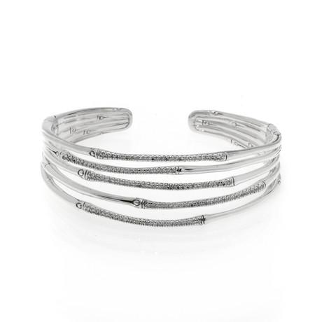 John Hardy Sterling Silver + Diamond Bamboo Bracelet // Store Display