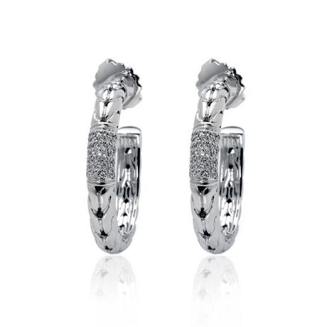 John Hardy Sterling Silver Diamond Earrings // Store Display