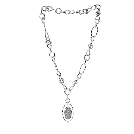 John Hardy Sterling Silver Diamond Bamboo Necklace // Store Display
