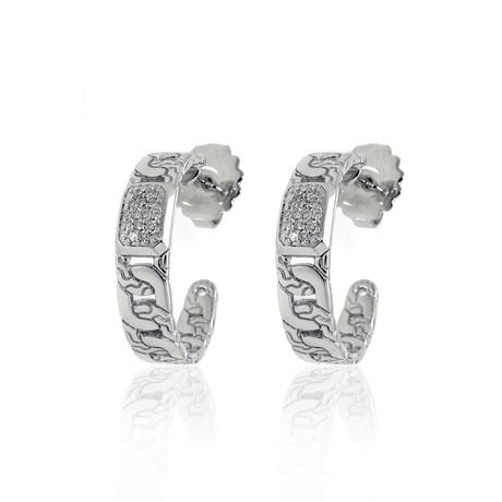 John Hardy Sterling Silver Diamond Chain Earrings // Store Display