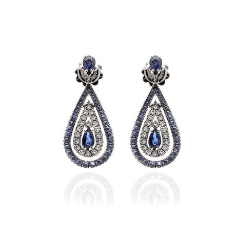 Damiani Regina Cleopatra 18k White Gold Diamond + Sapphire Earrings // Store Display