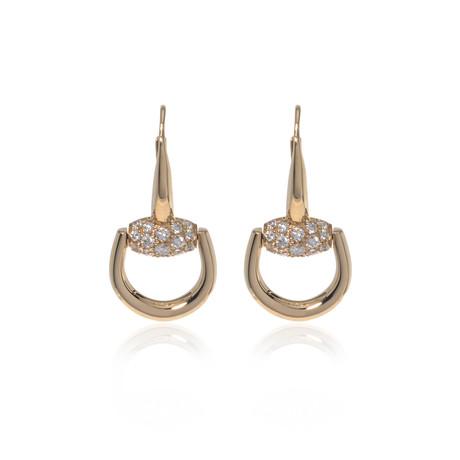 Gucci 18k Yellow Gold Diamond Horsebit Earrings // Store Display