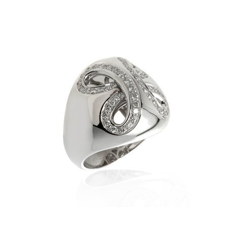 Damiani 18k White Gold Pave Diamond Ring // Ring Size: 7.5 // Store Display