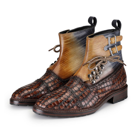 Cap Toe Lace Up Boots // Crocodile Brown (US: 8)