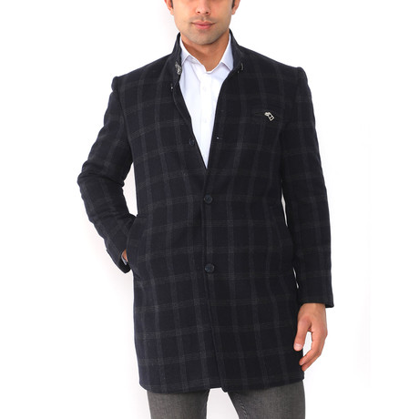 Paris Coat // Patterned Dark Blue (Medium)