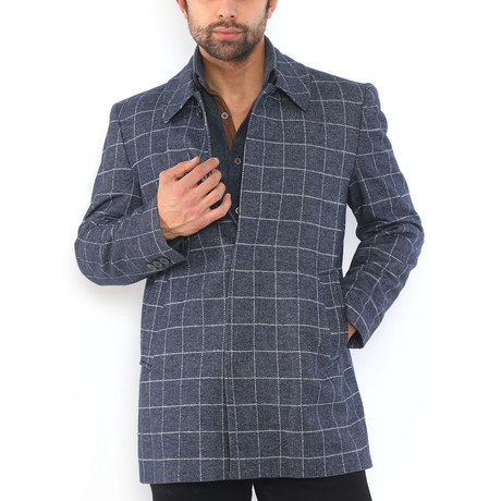 Bangkok Coat // Patterned Dark Blue (Medium)
