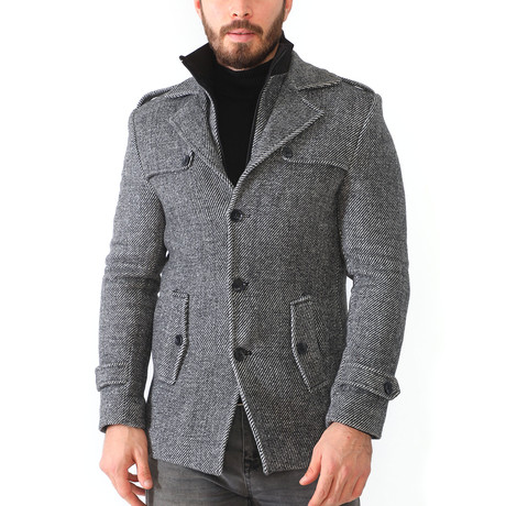 Borah Coat // Diagonal Anthracite (Medium)