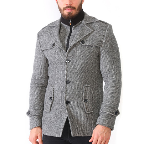 Borah Coat // Diagonal Gray (Medium)