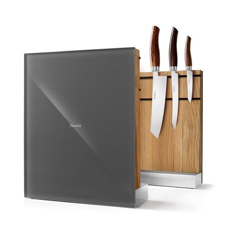Nesmuk Knife Holder // European Oak Wood + Grey Glass