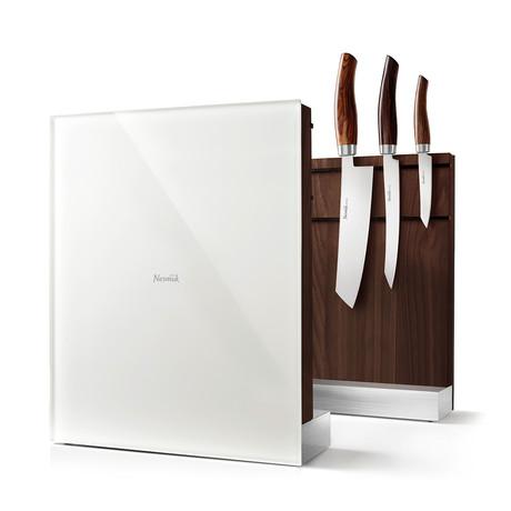 Nesmuk Knife Holder // American Walnut Wood + White Glass