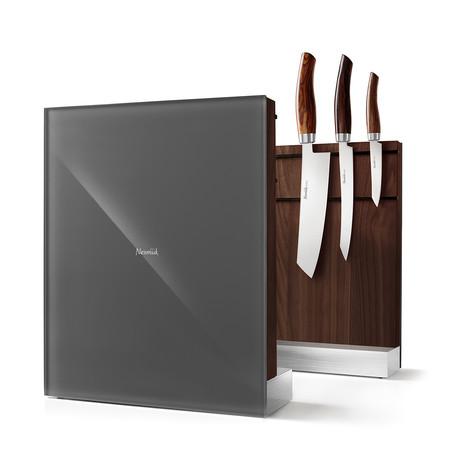 Nesmuk Knife Holder // American Walnut Wood + Grey Glass