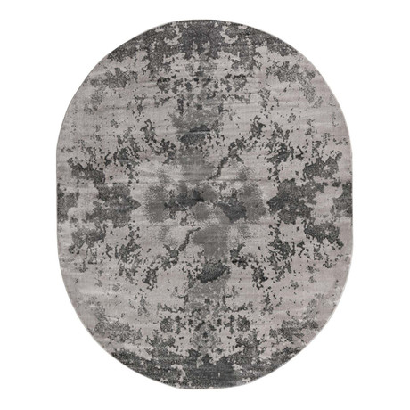 "Unique Loom Metro Glaze Rug // Light Gray // Oval (95"" x 120"")"