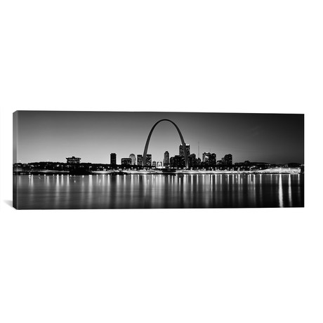 """City lit up at night, Gateway Arch, Mississippi River, St. Louis, Missouri, USA // Panoramic Images (60""""W x 20""""H x 0.75""""D)"""