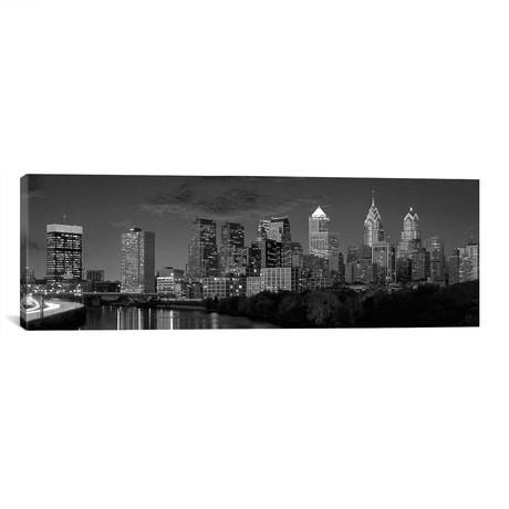 "Philadelphia Panoramic Skyline Cityscape (Black & White) // Unknown Artist (60""W x 20""H x 0.75""D)"
