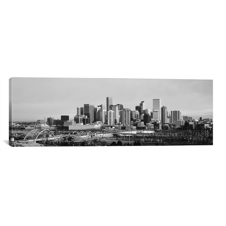 "Denver Panoramic Skyline Cityscape (Black & White - Sunset) // Unknown Artist (60""W x 20""H x 0.75""D)"
