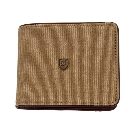 S.T. Dupont Iconic Beige Cotton Six Credit Card Wallet