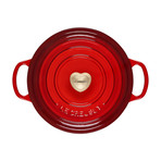 Round Dutch Oven + Heart Shaped Knob // 3.5 qt. // Cerise