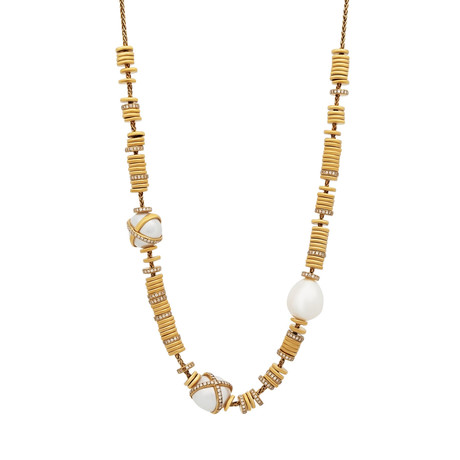 Baie De Anges Yellow Gold + Diamond + Freshwater Pearl Necklace II