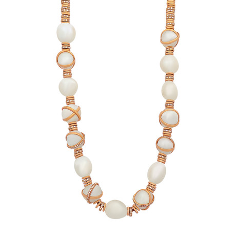 Baie De Anges Yellow Gold + Diamond + Freshwater Pearl Necklace I