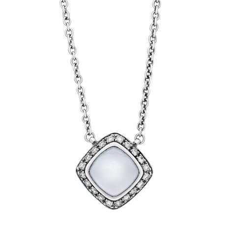 Paindesucre White Gold + Diamond + Chalcedony + Pendant Necklace