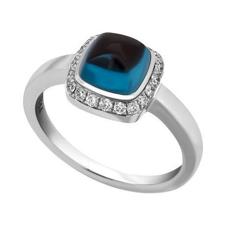 Paindesucre White Gold + London Blue Topaz Ring // Ring Size 5.25