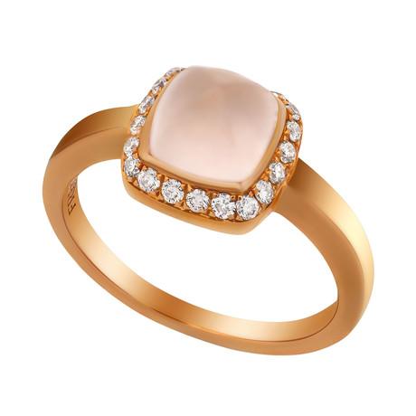 Paindesucre Rose Gold + Diamond + Pink Quartz Ring (Ring Size: 6)