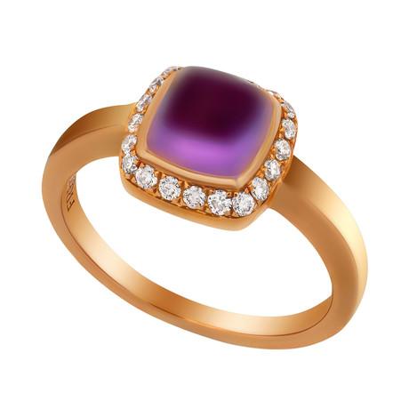 Paindesucre Rose Gold + Diamond + Amethyst Ring (Ring Size: 5.75)